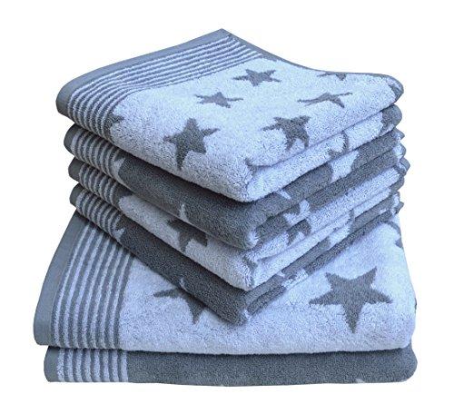 Dyckhoff Stars Frottiertuchset, Baumwolle, grau, 36 x 26 x 20 cm, 6-Einheiten