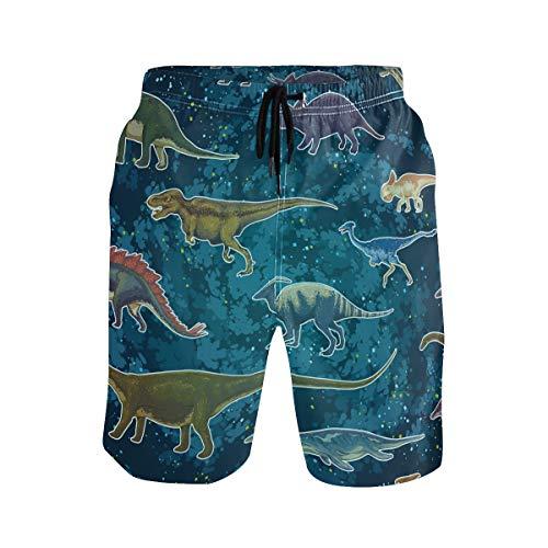 BONIPE Herren Badehose Fantasy Cute Monsters Dinosaurier Muster Quick Dry Boardshorts mit Kordelzug und Taschen Gr. XL, mehrfarbig