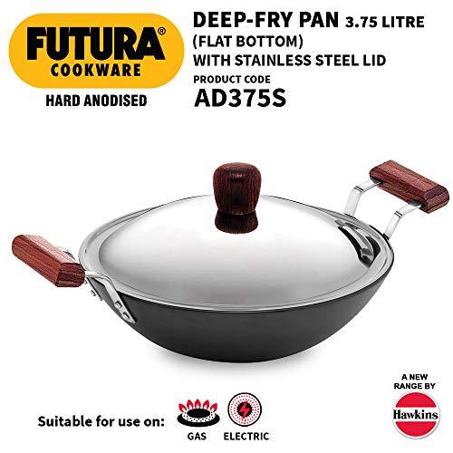 Hawkins Futura Hard Anodized Flat Bottom Deep-Fry Pan with Steel Lid (3.75 Liter, 30 cm)