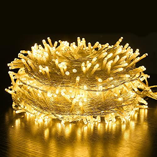 Rideau Lumineux, 100M Guirlande lumineuse, blanc chaud Lumière, 8 Modes d'Eclairage,Décoration pour intérieur et extérieur, Etanche IP44,Vacances Fête De Mariage Fée Guirlande Lumière (1000LED)