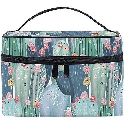 Cactus Print Pattern Cosmetic Bag Makeup Bag Toiletry Brush Train Zip Carrying Portable Storage Pouch Bags Box Box