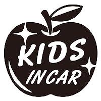 imoninn KIDS in car ステッカー 【パッケージ版】 No.63 リンゴ (黒色)
