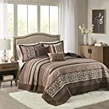 Madison Park Quilt Traditional Jacquard Luxe Design All Season, Coverlet Bedspread Lightweight Bedding Set, Shams, Decorative Pillow, Oversized King(120'x118'), Princeton, Red, 5 Piece