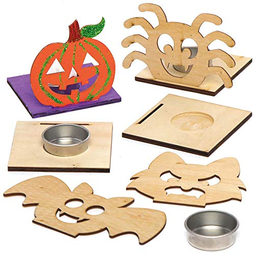Baker Ross AX226 Halloween Wooden Tealight Kits - Pack of 4, Decorate and...
