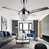 """Moerun 44"""" Crystal Modern Ceiling Fan with Light 4 Stainless Steel Blades Remote LED Ceiling Fans 3 Color Changes 3 Speeds LED Chandelier Lighting Fixture, Silent Motor with LED Kits Included"""