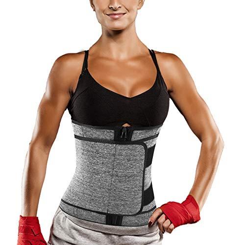 Women Neoprene Sauna Sweat Waist Trainer Belt Belly Cincher Corset Trimmer Band for Weight Loss (Grey Waist Trainer Belt, S)