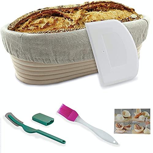 Banneton Cestino ovale in vimini naturale per la lievitazione di pane e impasti fino a 1000 g, dimensioni: 25,4 cm ca., con spazzola, rivestimento in tessuto, raschietto e lama inclusi