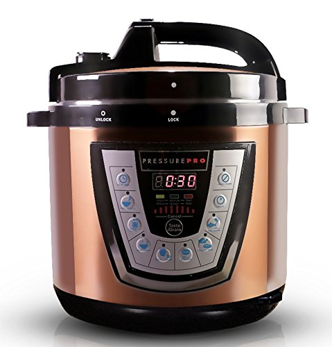 10-in-1 CopperTech PressurePro 6 Qt Pressure Cooker - Multi-Use Programmable Pressure Cooker, Slow Cooker, Rice Cooker, Steamer, Yogurt Maker, Sauté and Warmer - Copper
