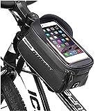 Bolsa para cuadro de bicicleta, Bolsa para bicicleta Soporte impermeable para teléfono Bolsa de manillar de almacenamiento de gran capacidad con pantalla táctil, Bolsa para bicicleta de montaña