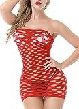 Siennaa Damen Dessous Sexy Erotik, Frauen Hollow Out Reizwäsche Nachtkleid Negligee Babydoll Kleid Wäsche Netzs Flexibel Mini Kleid Nachtwäsche Lingerie Unterwäsche (Rot, Einheitsgröße)