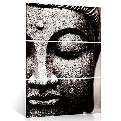 Shuaxin Modern Large Photo Buddha Wall Art Print on Canvas Home Living Room Decorations Wall Art 3 Panel 16x32inch (Framed Ready to Hang)