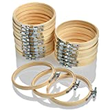 WOWOSS 16 Pieces 4 Inch Embroidery Hoops Wooden Round Adjustable Bamboo Circle Cross Stitch Hoop Ring Bulk for Embroidery and Cross Stitch Art Craft Handy Sewing