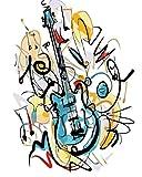 Nueva pintura por números para adultos Niños - Guitarra eléctrica cómica - Pintura digital de bricolaje por Kits de números sobre lienz