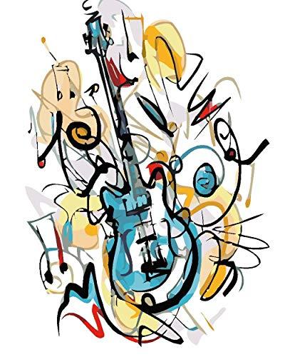 Zhonchng DIY Olie Verf door Nummer Kit,Schilderij Schilderij Cartoon Gitaar Tekening met Borstels 16 * 20 Inch Kerst Decor Decoraties Geschenken Zonder frame