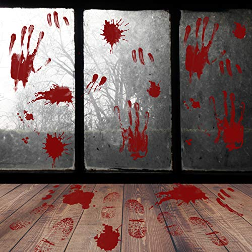 Halloween Bloody Window Wall Floor Clings Decal Sticker - 48 PCS Footprint Handprint Stickers Supplies for Vampire Zombie Party Haunted House Bathroom Window Decorations