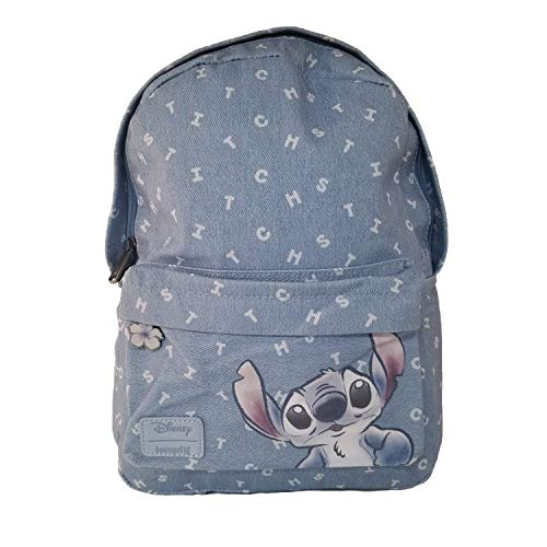 Loungefly Disney Lilo and Stitch Denim Mini Backpack (One Size, Blue)