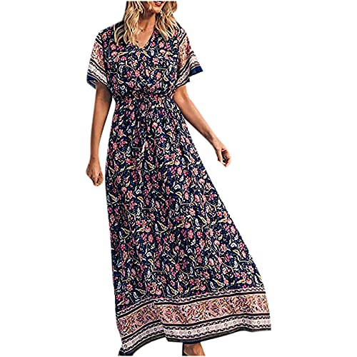 Vestido de verano para mujer, casual, vestidos de playa, para mujer, estilo vintage, bohemio, retro, con cuello en V, estampado casual, manga corta, suelto, vestido largo y suelto, vestido largo