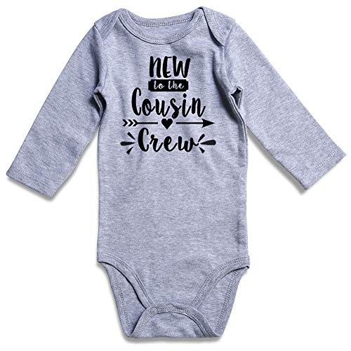 Baby Bodysuits Pure Grey New to the Cousin Crew Cool Letter Arrow Print Onesie 0-3 Months Trendy First Outfit Rompers for Newborn Kids Girl Boy New Mom Announcement Gift