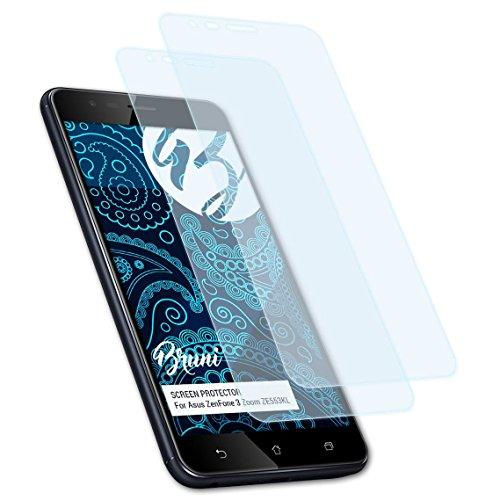Bruni Schutzfolie kompatibel mit Asus ZenFone 3 Zoom ZE553KL / ZenFone Zoom S Folie, glasklare Bildschirmschutzfolie (2X)