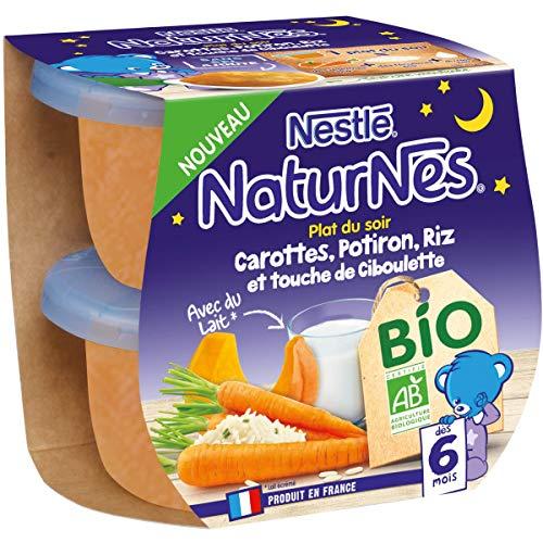 Nestlé Naturnes Bio Purée bébé Carotte, Potiron, Riz, Touche de Ciboulette Dès 6 mois 2x190g