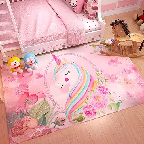 Kele Tappeto per Bambini Rettangolo Rosa Creativo Anime Unicorno Ragazza Semplice Nordic Cameretta per Bambini Tappeto Decorativo 100 * 160 cm