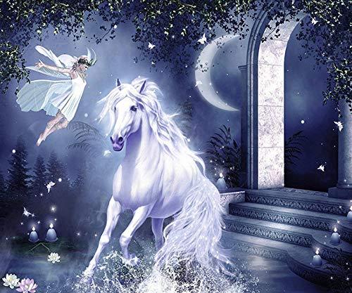 nanxiaotian Diamantmalerei 5D DIY Volldiamant runder Diamant Zauberer weißes Pferd 45x40cm Stickerei Strass Kristall Nähen Kreuzstich Kit Geschenk