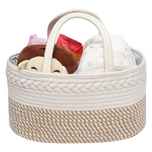 Aufbewahrungskorb für Babywindeln, Geschenkkorb für Neugeborenen-Duschen, zur Aufbewahrung von Kosmetika, Babypflegeprodukten, Babywindeln und feuchten Geweben (mit abnehmbarer Trennwand)
