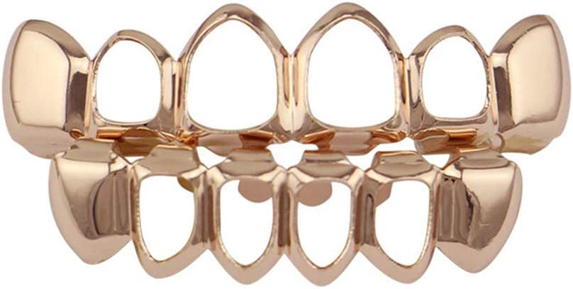 A touch of taste Hip Hop Teeth Gold Plated Grills Set Top and Bottom Hollow Style Teeth Caps Grills for Holleween Gift One Size Fits Rose Gold