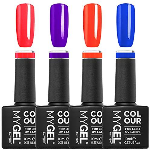 Mylee Jelly Collection Set – 4 lang anhaltende UV LED Gelnagellack helle Neonfarben, glänzender Jelly-Glanzeffekt, perfektes Geschenk mit Kosmetiktasche, professionelle Salonnägel für Zuhause