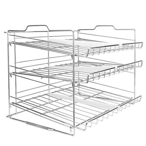3 Etagen Regal | Küchen- & Vorratsschrank Organisieren | Konserven & Dosenlagerung | Edelstahl-Drahtgitter | 6 Fachorganisatoren | M&W