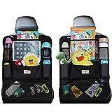 シートバックポケット 車用収納ポケット 後部座席収納バッグ ベビー用品 子供用品車内収納袋 助手席収納ボックス (ブラック, 2件)