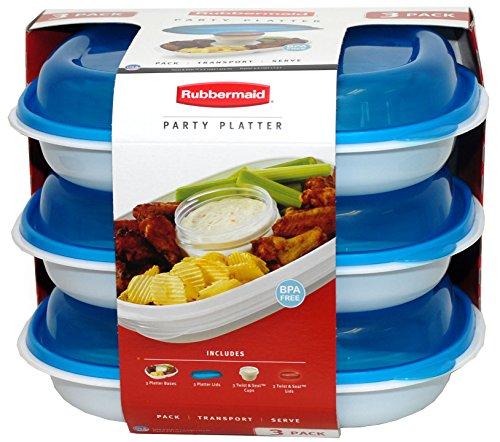 Rubbermaid Party Platter 3 Pack (Blue)