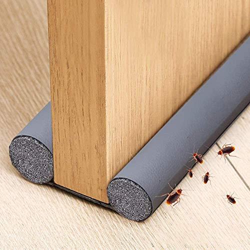 Xnuoyo PU Burlete para Puertas, Cortable, con Doble Junta de Protección Para Evitar El Viento, El Polvo, Los Insectos Y El Aislamiento AcúStico (Gris)