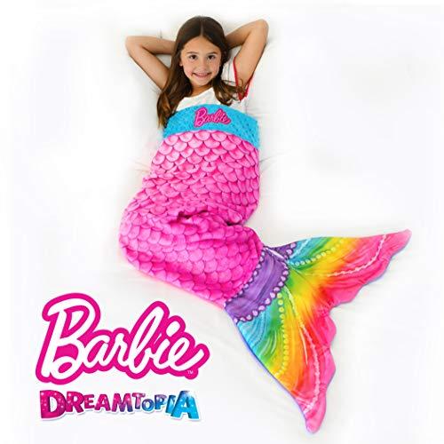 Blankie Tails   Barbie Dreamtopia Rainbow Mermaid Sparkles Wearable Blanket - Double Sided Super Soft and Cozy Rainbow Mermaid Barbie Minky Fleece Blanket - Machine Washable Fun Mermaid Tail Blanket