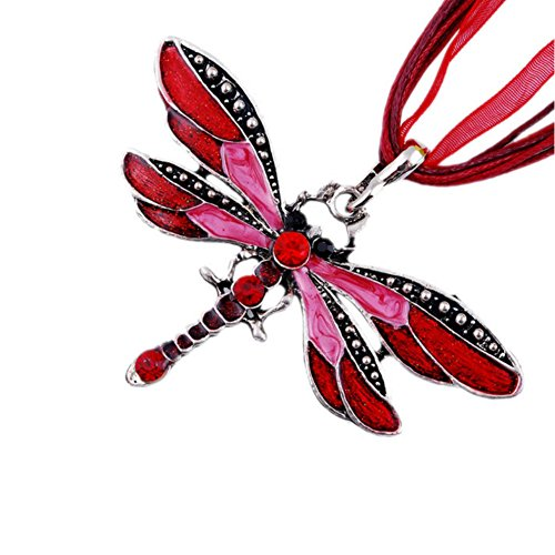 AKOAK Fashion Creative Bohemian Jewelry Ethnic Multi-layer Chain Colorful Enamel Dragonfly Pendant Necklace?Red?