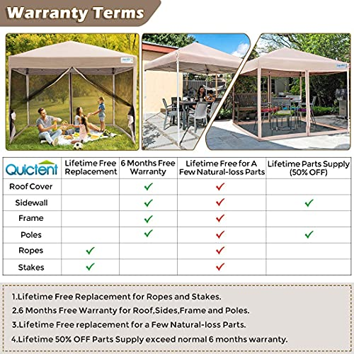 Quictent 8x8 Ft Easy Pop up Canopy with Netting Screen House Tent Instant Set up, Roller Bag & 4 Sand Bags Included (Tan)
