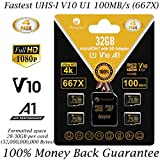 Amplim 4 Pack 32GB Micro SD SDHC Memory Card Plus Adapter (Class 10 U1 UHS-I V10 A1 MicroSDHC Pro) 4X 32 GB Ultra High Speed 100MB/s 667X Flash for Cell Phone Tablet GoPro Camera Fire Nintendo DJI