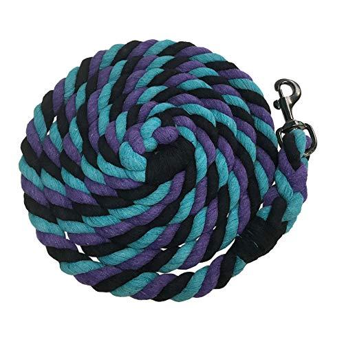 Kensington 10ft Heavy Cotton Tri-Colored Lead Rope Horse Tack (Lavender Mint)