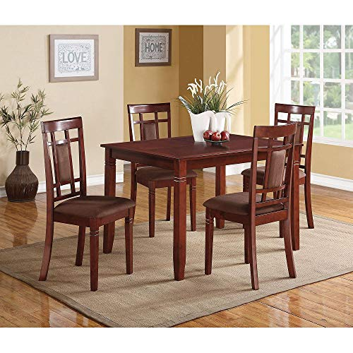 Baysitone 5 Pieces Dining Table Set with 4 Leather Upholstery Chairs, Wood Kitchen Table and Chairs for 4/Breakfast Nook Furniture for Home, Dining Room, Small Space (Cherry)