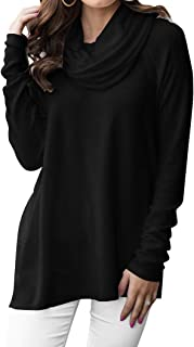 Women's Long Sleeve Cowl Neck Sweater Pullover Turtleneck Casual Loose Sweatshirts Tunic Tops
