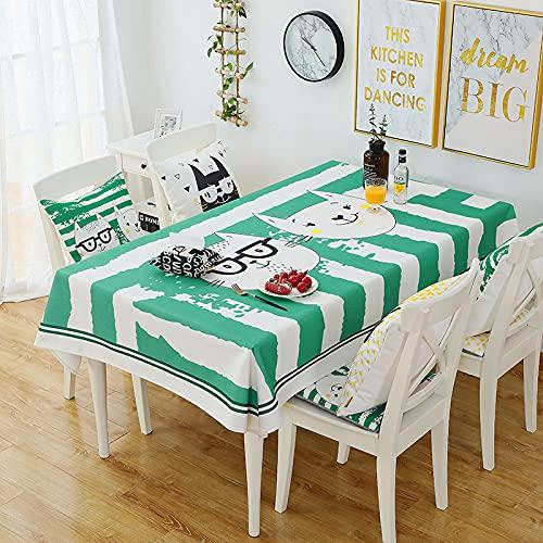 LIUJIU Mantel lavable con borla, rectangular, impermeable, de algodón y lino, de fácil cuidado, para jardín, habitación, decoración de mesa, 140 x 200 cm