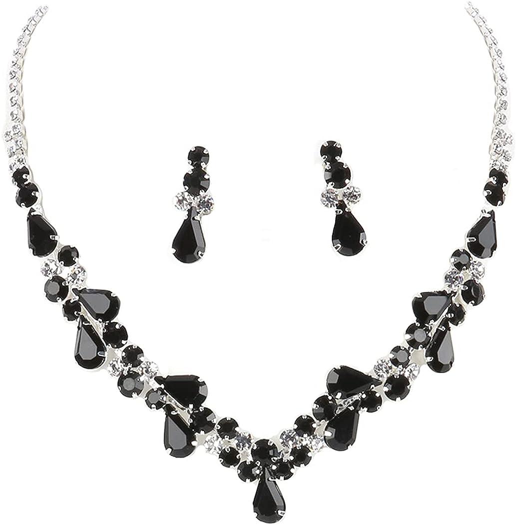 Fashion Jewelry ~ Black Crystal Rhinestone Teardrop Flowers Choker Wedding Necklace and Earrings Set for Women Girlfriends Birthdays Casual or Formal