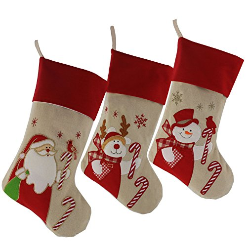 Lovely Christmas Stockings Set of 3 Santa, Reindeer, Snowman