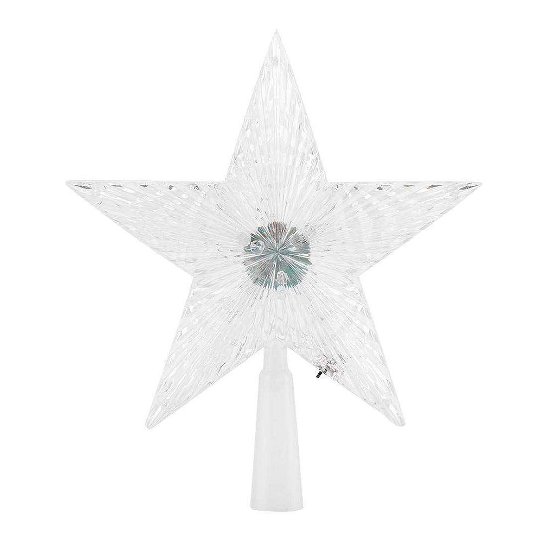 スカリーお手入れラウズSemmeスターツリートッパー、クリスマスツリーの装飾輝き星飾り屋内屋外用の5つの尖った星LED変更ライトツリートップ(small)