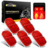 Partsam 5Pcs Double Bubble Bullseye Led Side Marker Clearance Lights Red 10 Diodes Surface Mount Waterproof 4' Rectangular Rectangle Tiger eye Led Marker Lights for RV Truck Camper ORV ATV Motorcycle
