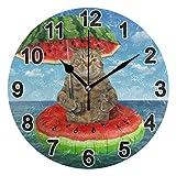 FULUHUAPIN Reloj de pared para baño, cocina, para niña, sin garrapatas, silencioso, fácil de leer, para decoración de dormitorio, 22.5 cm, reloj redondo 20300867