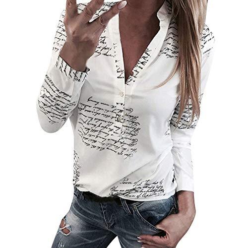 Damen Freizeit V-Ausschnitt Manschetten-Ärmel Locker Punkte Taschen Shirt Bluse,Dtuta Frauen Langarm Button TopHemd Hemdbluse Druck Tunika Bluse Blusenshirt Langarmshirt Schöne Oberteile Tops T-Shirt