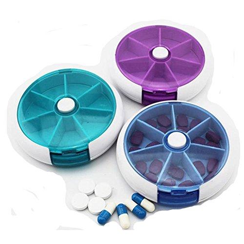 Tfxwerws Portable Plateau rond 7 jours Pill Box Cases Réservoir à médicament Dispenser-random Couleurs