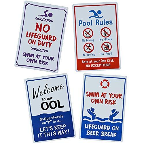 4 Stück Schild Pool Rules Schild Warnschild Rustikales Vintage Metall Blechschild Outdoor Wandschild (A)