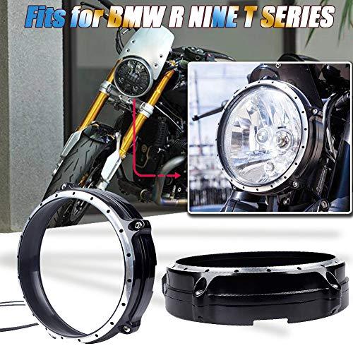 AHOLAA Scheinwerfer-Zierring 7 inch Schwarzes Visier Motorradlünette Zierring Kompatibel mit B.M.W R nineT Pure Scramble RnineT /5 2017 2018 2019 2020,R NINR T R9T Frontscheinwerfer-Rahmenblende